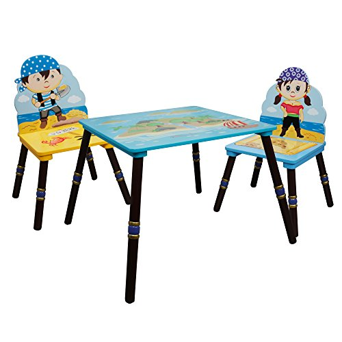 (Fantasy Fields - Pirate Island Thematic Hand Crafted Kids Wooden Table and 2 Chairs Set (B) |Imagination Inspiring Hand Crafted & Hand Painted Details | Non-Toxic, Lead Free Water-based Paint )