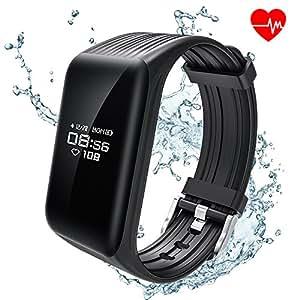 ALANGDUO Rastreadores de Fitness, Monitor de frecuencia cardíaca Rastreador Pulsera Inteligente de Bluetooth Actividad Podómetro Impermeable para teléfonos Inteligentes Android y iOS (Negro)