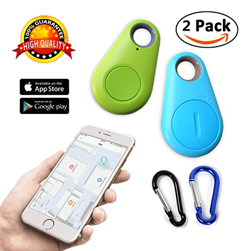 key finder smart tracker Bluetooth Locator pet car child wireless anti lost alarm sensor for wallet kids dog cat bag phone selfie device located shutter 2 pack - Best Item Locator