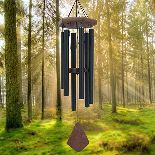 "Cheap Memorial Wind Chimes Outdoor Large Deep Tone, 30"" Amazing Grace Wind Chime Outdoor, Sympathy Wind-Chime Personalized With 6 Tuned Tubes, Elegant Chime For Garden, Patio, Balcony And Home, Matte Black"