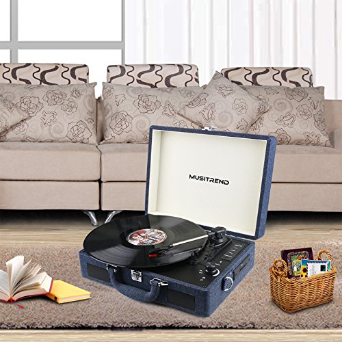Musitrend Record Player Vinyl Turntable with Speakers, 3 Speed Suitcase Record Player Support Vinyl-to-MP3 Recording, Headphone Jack, Aux Input/RCA line Out (Denim) by MUSITREND