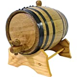 Oak Beverage Dispensing Barrel with Black Steel Bands