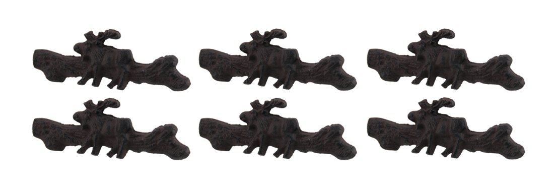 Zeckos Cast Iron Drawer Pulls Rustic Brown Country Moose 6 Piece Cast Iron Drawer Handle Pull Set 5.25 X 1.75 X 2 Inches Brown