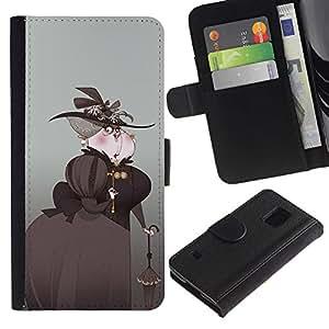 KingStore / Leather Etui en cuir / Samsung Galaxy S5 V SM-G900 / Arte Aristocrat Mujer Sombrero Negro Paraguas