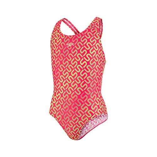 Speedo Mädchen Monogram Allover Splashback Badeanzug, Rose Red/Apple Green, 164