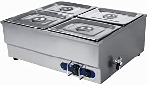 INTSUPERMAI 4 Pots Electric Commercial Food Soup Warmer Canteen Buffet Steam Heater Stainless Steel 110V 1500W 1/2GN x4 pan 12''8.7''4'' 4 inch/10cm deep