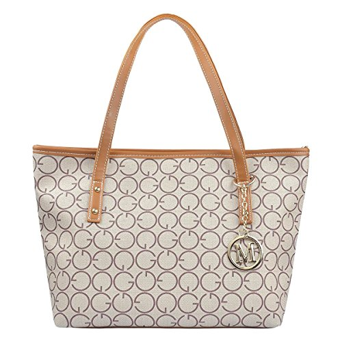 re Printing Pu Leather Tote Shoulder Handbag with Metal Decoration for Women (G Style) (Signature Large Tote)
