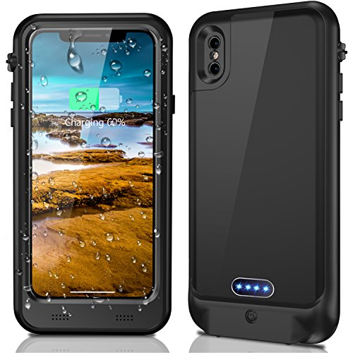 2018 iPhone X Waterproof Battery Case, Temdan 3400mAh Built in 3.5mm Earphone Jack and Screen Protector Rechargeable Power Charger Case Extended Battery Charging Case for iPhone X (5.8inch)