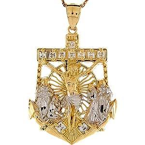Jewelry Liquidation 10k Two Tone Gold White CZ Jesus and