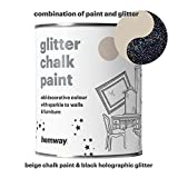 Hemway Beige Chalk Paint (with Black Holographic Glitter) Sparkle Matt finish Wall and Furniture Paint 1L / 35oz Shabby Chic Vintage Chalky Crystal (25 Glittery Colours Available)