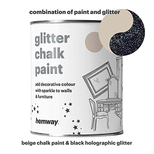 Hemway Beige Chalk Paint (with Black Holographic Glitter) Sparkle Matt finish Wall and Furniture Paint 1L / 35oz Shabby Chic Vintage Chalky Crystal (25 Glittery Colours (Black Matt Paint)