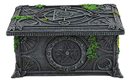 Ebros Celestial Lunar Moon Astrology Pentagram Tarot Card Deck Holder Jewelry Box Figurine with Alchemy Symbols and Ivy Lichen Borders Home Decor Statue Wicca Witchcraft Talisman