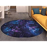 Space Round Area Rug Mystical Sky with Star Clusters Cosmos Nebula Celestial Scenery Artwork Living Dinning Room & Bedroom Rugs Dark Purple and Blue