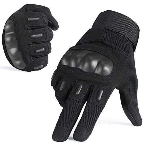 JIUSY Touch Screen Army Tactical Gloves Military Rubber Hard Knuckle Full Finger Gloves for Cycling Motorcycle Hunting Hiking Airsoft Paintball Outdoor Riding Shooting Sports Gear Size Black X-Large