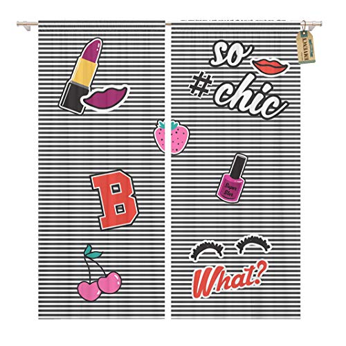 Golee Window Curtain Denim Cute Patch Badges in Graphic Cherry Lipstick Kids Home Decor Rod Pocket Drapes 2 Panels Curtain 104 x 63 inches