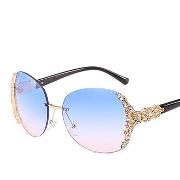 Sonnenbrille Persönlichkeit Frameless Diamonds Lady Fahren Reise Anti-Glare-Brille,Purple
