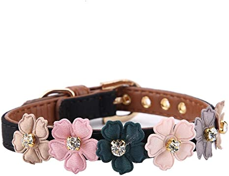 1.3 x 34cm Axgo Adjustable PU Leather Cat Collar with Daisy Flowers and Rhinestone for Kitten and Small Dogs Pink
