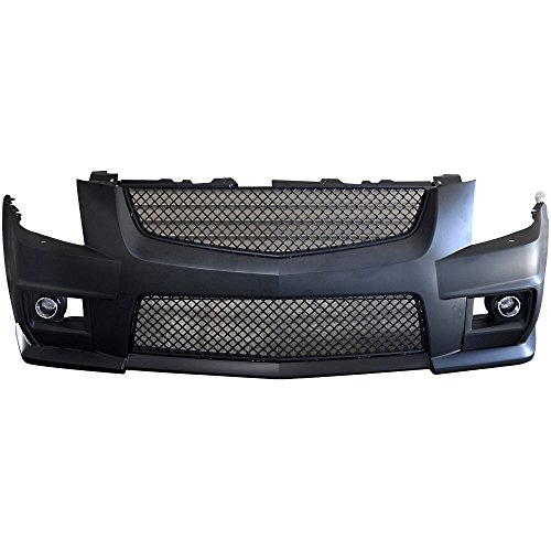 Compatible With 2008-2013 Cadillac Cts V-Style PP Front Bumper Cover Mesh Upper Lower Grille Black