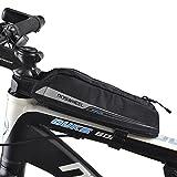 FlexDin Bicycle Frame Energy Bag, Road Racing/Touring / Triathlon Aerodynamic Bike Top Tube Cycling Fuel Bag Food Pouch Waterproof 420D 0.4L Black