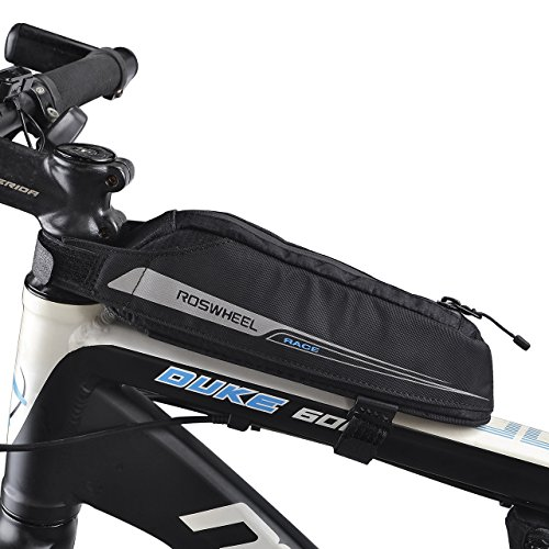 FlexDin Bicycle Frame Energy Bag, Road Racing/Touring Aerodynamic Bike Top Tube Cycling Fuel Bag Pouch Waterproof 420D 0.4L Black