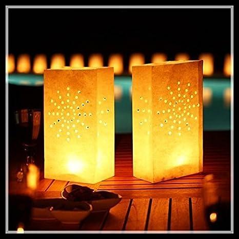 Joinwin50 White Luminary Bags Sunburst Design Wedding Reception Party And Event Decor Flame Resistant Paper Luminaria Light Holder Luminaria