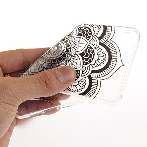 Caja Transparente de Lenovo S90T, MAGQI Flexible y Durable del gel de TPU a Prueba de Choques [Anti-Rasguñe] Tope de la Absorción y, [Pluma Negra Libre de la Aguja]-Mandala negro Girasol