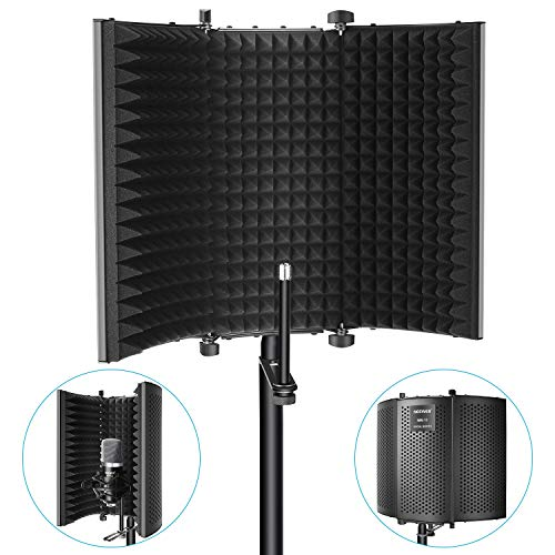 Neewer Microphone Isolation Shield - Foldable Tri-Fold Studio Mic Sound Absorbing Foam Reflector for Any Condenser Microphone Studio Recording Equipment (Black) ()