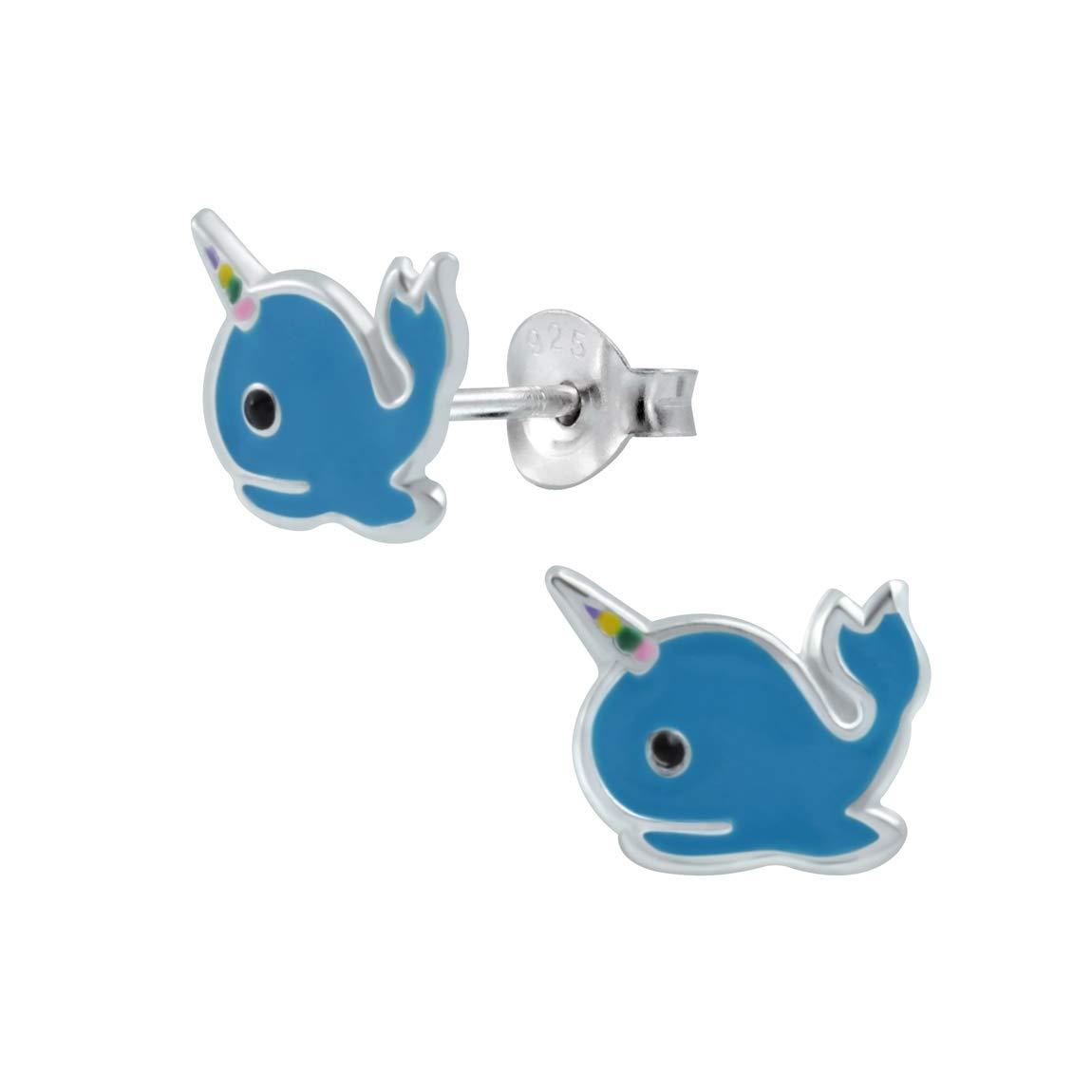 925 Sterling Silver Whale Corn Stud Earrings