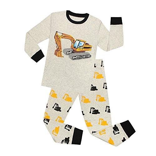 Phoebe Cat Boys Pajamas Excavator Pants Set 100% Cotton Clothes Toddler Sleepwear Kids Pjs (Bulldozer, 8T)