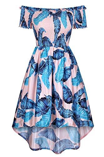 MEROKEETY Women's Off Shoulder Short Sleeves Tropical Print High Low Hem A Line Skater Dress Pink Blue (High Strapless Print Low)