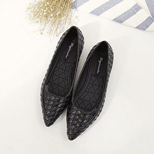 Xue Qiqi Tipp Flache Schuhe Weiblichen Flache Schuhe mit Einem Einzigen Weiblichen Schuhe Einfache Pendler Schuhe 4 Schuhe Frauen Schuhe Schwarz Braun Schwarz 2f78d8