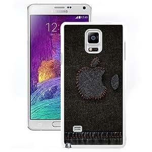 Fashionable And Unique Designed Cover Case For Samsung Galaxy Note 4 N910A N910T N910P N910V N910R4 With Apple Denim Stitched Logo_White Phone Case