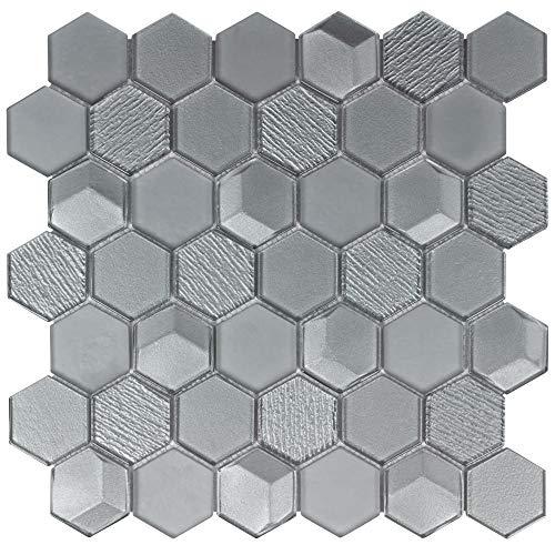 - MTO0303 Modern Beveled Hexagon Gray Glossy Metallic Glass Mosaic Tile