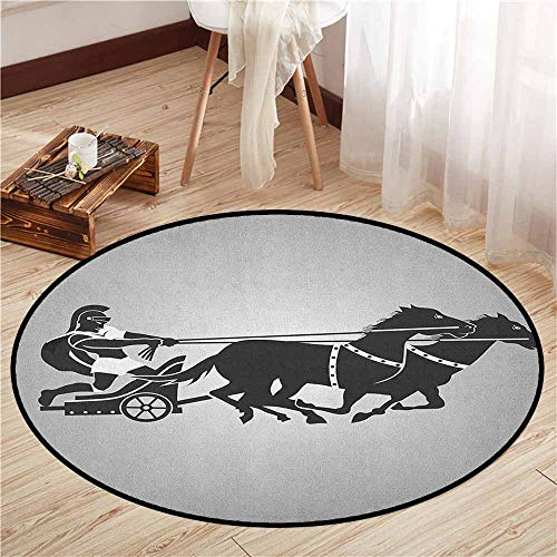 Skid-Resistant Rugs,Toga Party,Mythological Chariot Gladiator with Horse Traditional Greek Culture Image,Sofa Coffee Table Mat,2'7