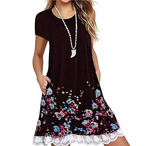 TWGONE Short Sleeve Dresses Casual Summer O Neck Pocket Lace Mini Loose Tunic Dress