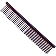 ZoCr Stainless Steel Pet Comb for Dogs Cats, Pet Grooming Comb with Different Spaced Rounded Teeth (Purple)