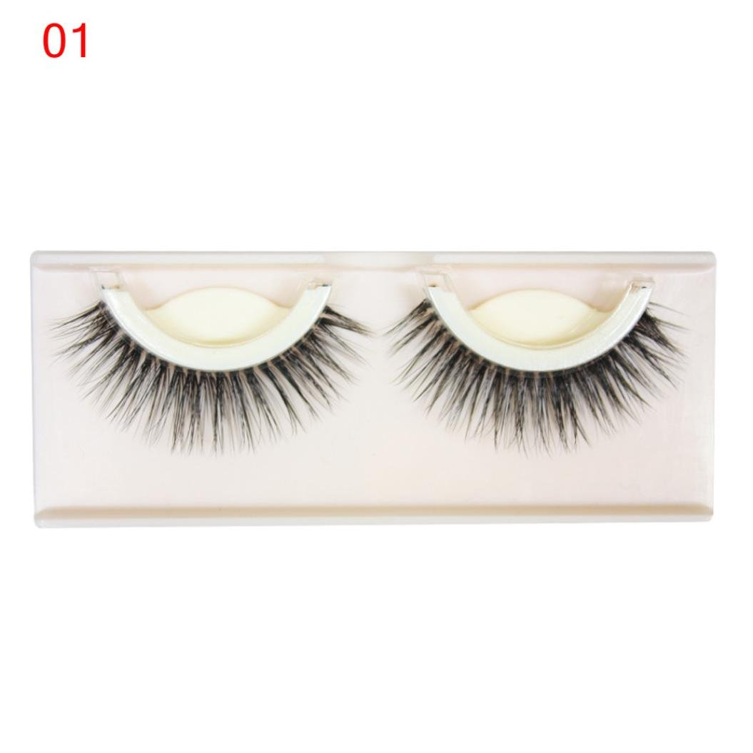 1 Pair Self-Adhesive False Eyelashes Jaminy Natural Long Thick Soft 3D Lashes (E)