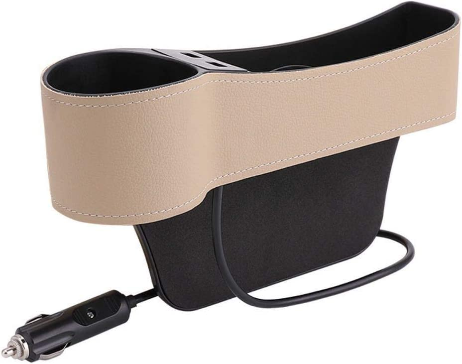 Leather Storage Box choolo Car Seat Gap Organizer Multifunctional with Dual USB Charging Beige Cup Holder for Driver Side