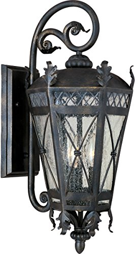 (Maxim 30455CDAT Canterbury 3-Light Outdoor Wall Lantern, Artesian Bronze Finish, Seedy Glass, CA Incandescent Incandescent Bulb , 60W Max., Dry Safety Rating, Standard Dimmable, Fabric Shade Material, 6048 Rated Lumens)