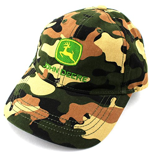 John Deere Toddler Youth Baseball Cap Hat (Toddler 2T-4T, Green Camo JD Logo)