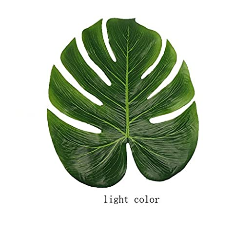 Hense Artificial Tropical Green Plant Leaves, Hawaiian Theme Party Jungle Beach Theme Decorations for Birthdays, Prom, Events(HYZ01) (12, light (Prom Themes)
