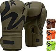 RDX Boxing Gloves for Training Muay Thai Maya Hide Leather Gloves for Sparring, Kickboxing, Fighting, Punch Ba