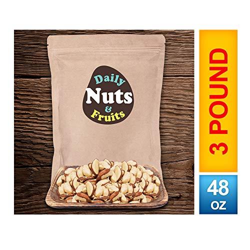 DAILY BRAZIL NUTS BULK POUCH (3 LB) Non-GMO, CERTIFIED GLUTEN FREE, KOSHER CERTIFIED, UN-SALTED, BULK PRICING, KOSHER CERTIFIED