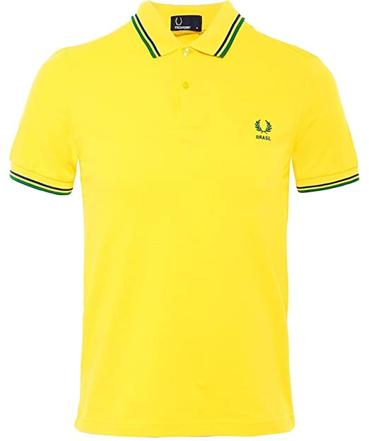 Neuankömmling 0d0df c4e23 Fred Perry Men's Twin Tipped Brazil Polo Shirt Yellow L ...