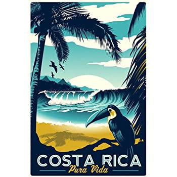 Amazon Com Costa Rica Flag Car Bumper Sticker Decal Oval
