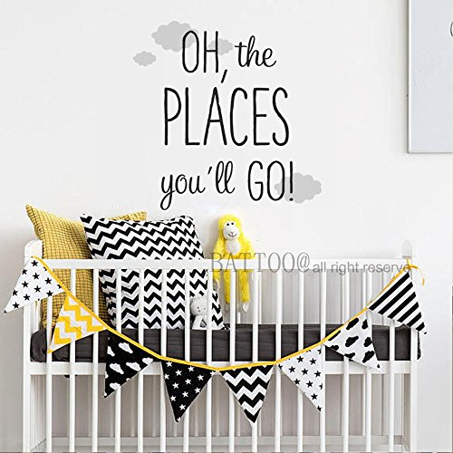 BATTOO Oh The Places You'll Go Wall Decal Travel Quotes Removable Vinyl Lettering Boys Wall Decal Baby Nursery Decor 28'' wide by 28'' tall,Black+gray by BATTOO