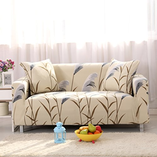 Lamberia Printed Sofa Cover Stretch Couch Cover Sofa Slipcovers for 3 Cushion Couch with One Pillow Case (Bulrush, Sofa-3 Seater)