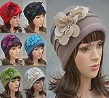 Felt Flower Trimmed Womens Warmer Wool Beanie Cap Dress Crochet Hat A123