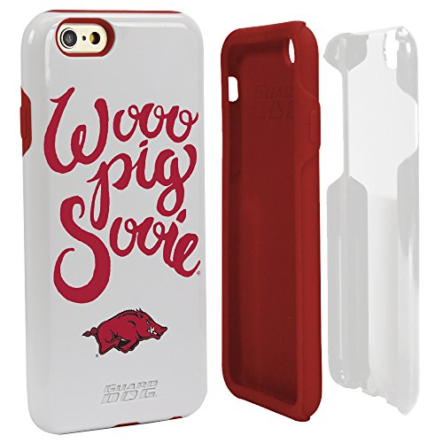 Arkansas Razorbacks Wooo Pig Sooie Hybrid Case for iPhone 6/6s White with Guard Glass Screen Protector (Razor White Cell Phone Case)
