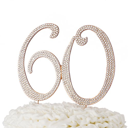 60-Cake-Topper-for-60th-Birthday-or-Anniversary-Rose-Gold-Rhinestone-Party-Supplies-Decoration-Ideas-Rose-Gold